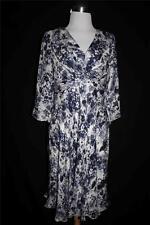SUZI SHIN MAGGY BOUTIQUE Women's Blue/Wht Floral SILK Lined 3/4 Sleeve Sz 8P