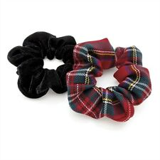 Red Tartan and Velvet Hair Scrunchies Elastic Scrunchy Bands Ladies Girl Bobbles