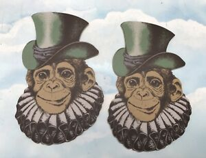 Pair Of MDF Victorian Chimpanzee Top Hat Quirky Steampunk Monkey Prop REJECT  CR