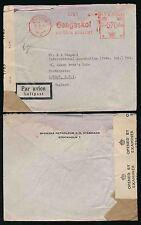 SWEDEN 1944 WW2 METER FRANKING + CENSOR...SVENSKA PETROLEUM AIRMAIL to GB