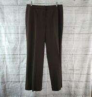 Lafayette 148 Womens Menswear Dress Pants Sz 10 Brown Wool Blend Straight Leg