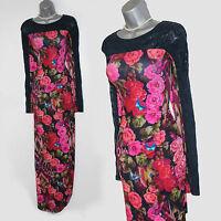 MONSOON Navy Floral Print Long Sleeves Embellished Elegant Maxi Dress UK 12  40