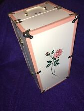 Vintage Doll Case Trunk Pink White - Nice
