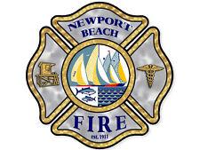 4x4 inch NEWPORT BEACH Fire Maltese Sticker - decal logo california firefighter