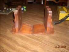 Vintage Solid Wood Bookends Badge/Shield Shaped