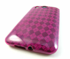 For HTC Inspire 4G Hard TPU FLEXI Candy Skin Snap on Phone Case Hot Pink Plaid