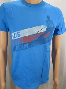 Men's Olympics US Ski Team 84 Short Sleeve VINTAGE Cotton Tee Shirt Blue NEW