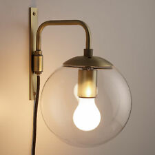 Retro Glass Globe Plug-In Wall Sconce w/Cord Switch ~ No Need to Hardwire ~ Gold