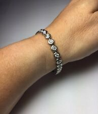 "Platinum Diamond Bezel Set 7"" Bracelet 29 Round Diamonds 3.50CT FG-VS In LED box"