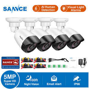 SANNCE 4pcs CCTV 5MP AI Human Camera 100ft/30m fit for Home Security System Kit