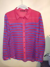 Violet & Claire Large Women's Blouse Red And Blue Striped