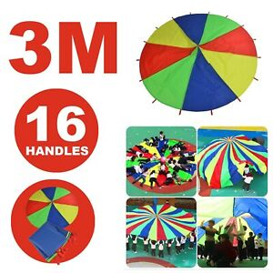 3m Rainbow Parachute Outdoor Game Kids Play Exercise Group Activity Sports Toy