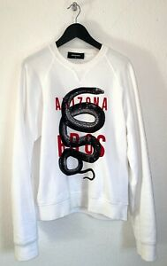 DSQUARED2 Pullover Sweatshirt Gr. M Oversize Weiß/Rot Snake Pailletten