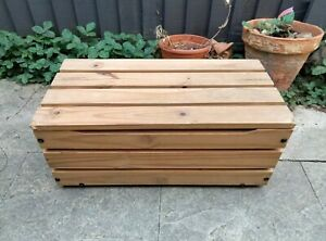 Vintage 1990s pine wooden slatted box chest storage toy box upcycle project