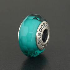Pandora Sterling Silver Teal Shiummer Murano Glass Bead #791655