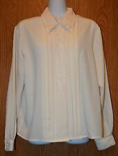 Womens Ivory Claudia Richard Long Sleeve Dress Shirt Size 10P 10 Pet excellent