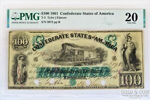 1861 $100 Confederate States T-5 PMG 20 VF Very Fine Richmond US Currency 21818