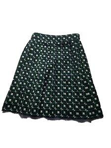 J.CREW Printed Pleated Geometric Patio Skirt Style Black Green  Size 4p