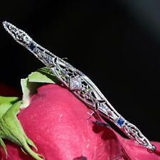 diamond sapphire pin brooch 3.1gr N929C 1900's antique 14k gold Platinum 0.16ct