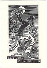 JOSEF WEISER: Exlibris für P. Th. Albrectsen, Meerjungfrau