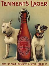 Tennent's Lager Beer, Dogs, Vintage Pub, Bar, Hotel, Beer, Small Metal Tin Sign
