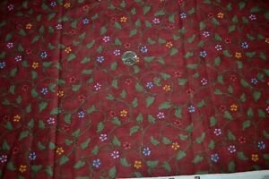 """Cotton quilting fabric 44"""" x 1.7 yards, floral print green & brick red"""