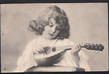 Children Postcard - Young Girl Playing a Musical Instrument  DP932