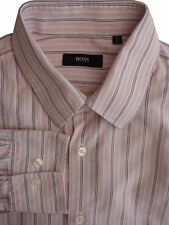 HUGO BOSS Shirt Mens 16 M White – Pink Stripes