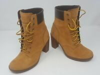 """Timberland Women's 6"""" Glancy Wheat Nubuck Leather Boots 8715A Size 6 NEW"""