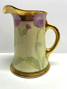 LIMOGES FRANCE WG & CO Hand Painted Signed Pink Thistle & Gold Trim Pitcher