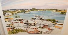 """JILL AMOS RAINE """"ST GEORGE'S HARBOUR, BERMUDA"""". HAND SIGNED LIMITED LITHOGRAPH"""