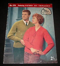 VINTAGE 1960s  PATONS KNITTING BOOK  #570 FAMILY TOPS JUMPERS