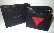 MENS GUESS DOUBLE BILLFOLD BLACK/RED WALLET WITH ORIGINAL GIFT BOX