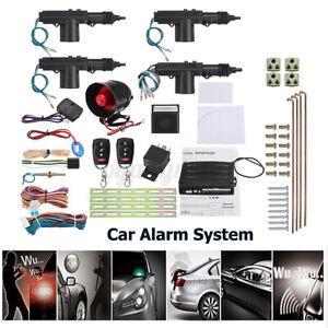 Car Security Alarm System Keyless Entry 4 Door Power Lock Actuator 2 Remote US