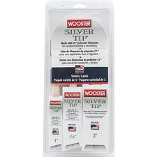"""Wooster SILVER TIP 1"""" & 1-1/2"""" & 2"""" Angle Polyester Paint Brush Set 3/Pk 5229"""