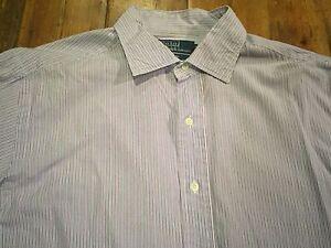 RALPH LAUREN Men's Purple Striped Philip Oxford Shirt- Sz 16.5 x 34- Retails $99