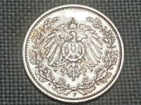 German Reich 1/2 Silver Mark 1905 F Kaiser Wilhelm II Crowned Imperial Eagle