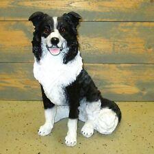 BORDER COLLIE HUND schwarz weiß sitzend Hundefigur Garten Deko Tier Figur HUNDE