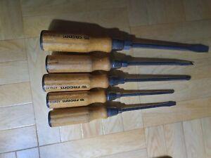 6 Tournevis Facom ATHH P1/P2 manches en bois 3 neufs et 3 occasions