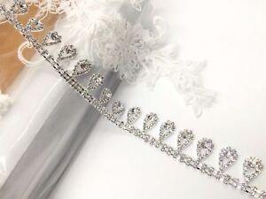 Silver Colour diamante Tear Drop Chain Applique Rhinestone Chain For Bridal Dres
