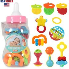Baby Teether Rattle Set,Shaker Grab Rattle Teether Toys for New Born Baby