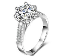 Women 18k White Gold Filled Silver 3.5 Carat Wedding Bridal Engagement Ring R151