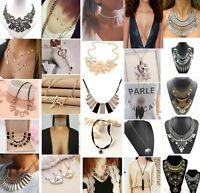 Women Charm Bib Statement Chunky Choker Chain Crystal Pendant Necklace Gift