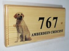 Personalised wood House Signs Plaques Door Numbers 1 – 9999,Labrador dog
