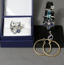 LOT PRETTY JEWELRY 14K Hoop Earrings, Sterling Silver Rings SZ 7.5 & 9, Pendants