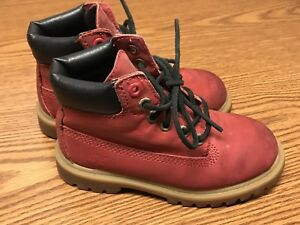 """Timberland 6588R Kids 6"""" Premium Red Lace Up Waterproof Leather Boots Sz 11"""