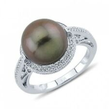 14K WHITE GOLD PAVE DIAMOND FRESHWATER BROWN GREY PEARL STATEMENT COCKTAIL RING
