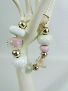 Chunky Art Glass Clear, Pink and White Beaded Bracelet
