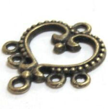 10 pieces 18x21mm Bronze Tone Heart 5 hole Alloy Connector - A0565