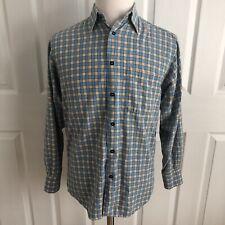 Men Gene Meyer Italy blue green yellow plaid cotton flannel button up shirt S-48
